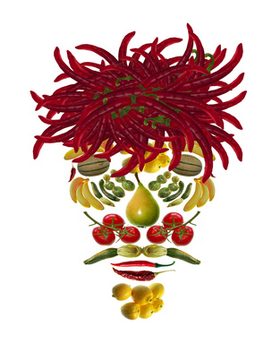 fruit and vegetables face on white background